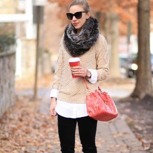 J. Crew Beige Beaded Cable Knit Sweater M
